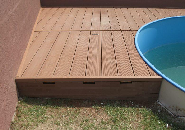 Deska tarasowa kompozytowa, kolor Bangkirai - wykończenie basenu
